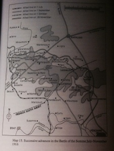 From J P Harriss (2008:267) Successive advances in the Battle of the Somme July-November 1926